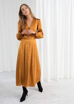 And other stories Belted Satin Maxi Dress