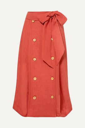 Lisa Marie Fernandez Diana Linen-blend Midi Skirt - Bright orange
