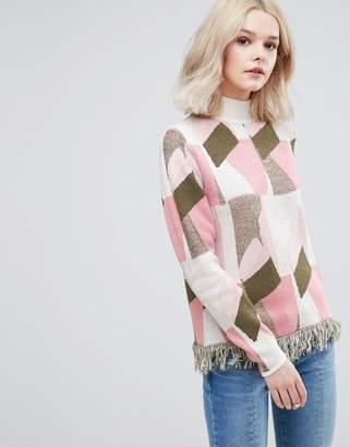 Vila Patterned Knit Sweater With Fringe