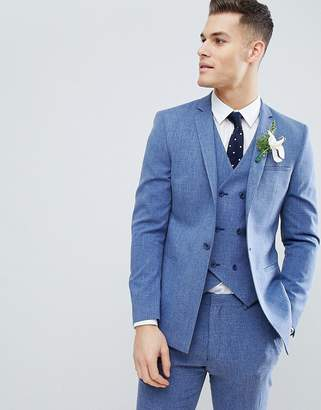 Blue Cross ASOS DESIGN Wedding Skinny Suit Jacket In Provence Hatch With Printed Lining