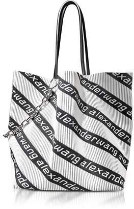 Alexander Wang Roxy Kint Jacquard Logo Soft Striped Canvas Large Tote Bag