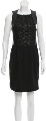 L'Agence Leather-Trimmed Sheath Dress