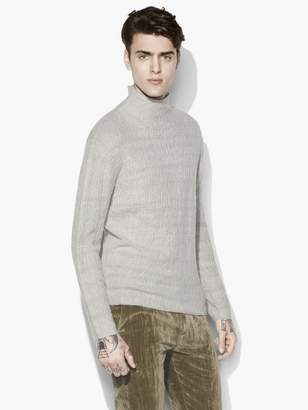 John Varvatos Mock Neck Cable Sweater