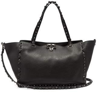 Valentino Rolling Rockstud Medium Leather Tote - Womens - Black