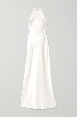Les Rêveries Silk-charmeuse Halterneck Gown - Ivory