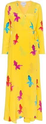 We Are Leone Silk Koi Fish Print Maxi Dress