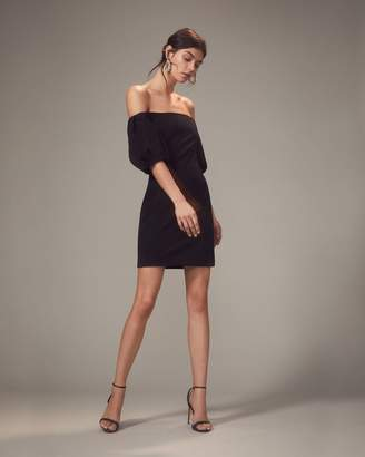 Intermix Cushnie Silvia Puff-Sleeved Black Mini Dress