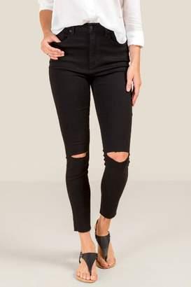 Harper Heritage High Rise Knee Slit Jeans - Black