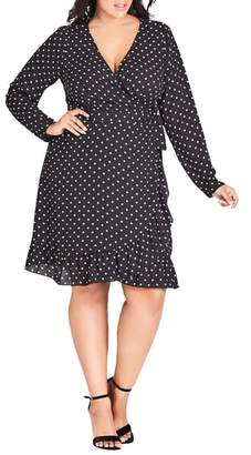 City Chic Faux Wrap Dotted Dress
