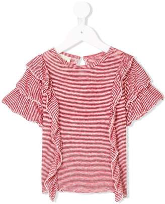 Douuod Kids striped ruffle T-shirt