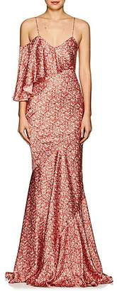 Zac Posen Women's Floral Silk Satin Gown - Red