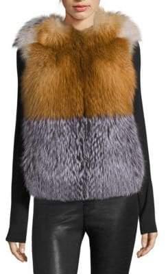 The Fur Salon Colorblock Fox Fur Vest
