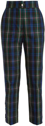 MSGM Cropped tartan cotton-blend trousers
