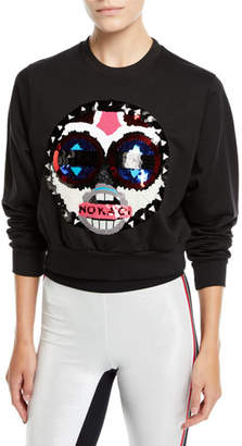 NO KA 'OI No Ka Oi Makini Sequin Logo Cropped Sweatshirt
