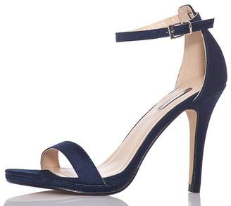 Quiz TOWIE Navy Satin Barely There Heels