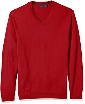 Nautica Men's Big and Tall Long Sleeve Solid Classic V-Neck Sweater