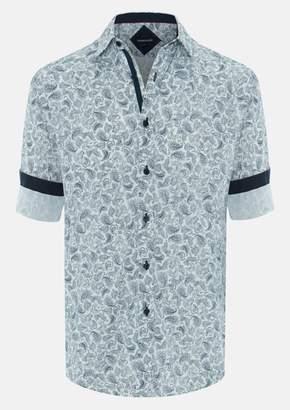 TAROCASH Navy Morrison Paisley Print Shirt