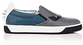 Fendi Men's Spiked Bag Bugs Leather Slip-On Sneakers-Gray