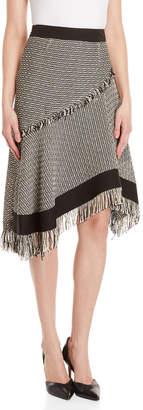 Derek Lam Fringe Trim Asymmetric Midi Skirt