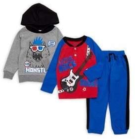 Nannette Little Boy's Three-Piece Monster Pajamas Set