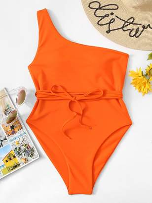 Shein One Shoulder Belted One Piece Swimsuit