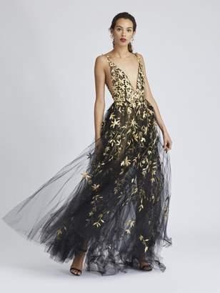 Oscar de la Renta Floral-Embroidered Tulle Gown
