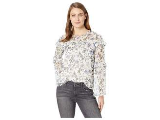 CeCe Long Sleeve Tiered Ruffle Bloomsbury Floral Blouse