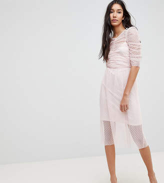 Asos Tall TALL Ruched Midi Dress In Spot Mesh