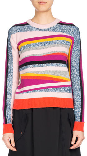 Kenzo Kenzo Broken Stripe Crewneck Fitted Sweater, Pink Pattern