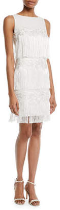 Badgley Mischka Tiered Fringe Cocktail Flapper Dress