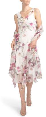 Komarov Floral Print Ruffle Midi Dress & Shawl