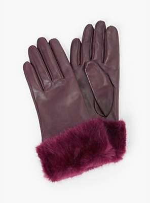 John Lewis & Partners Faux Fur Trim Leather Gloves