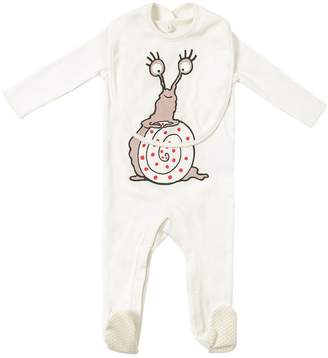 Stella McCartney Snail Cotton Jersey Romper & Bib