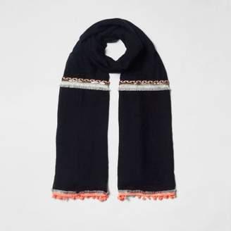 River Island Womens Black neon embellished trim long scarf