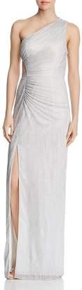 Aidan Mattox One-Shoulder Metallic Knit Gown