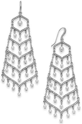 INC International Concepts I.N.C. Silver-Tone Pavé & Imitation Pearl Chandelier Earrings, Created for Macy's