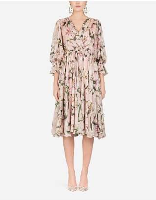 Dolce & Gabbana Lily-Print Chiffon Midi Dress