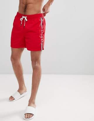 Tommy Hilfiger Short Drawstring Side Stripe Logo Swim Shorts in Red