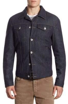 Brunello Cucinelli Spread Collar Denim Trucker Jacket