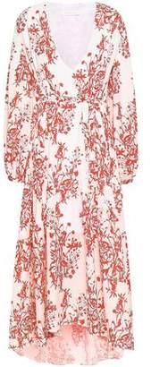 Borgo de Nor Printed Crepe De Chine Midi Dress