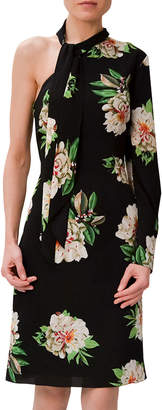 Mikael Aghal One-Sleeve Floral-Print Cocktail Dress