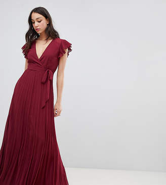 Asos Tall DESIGN TALL pleated maxi dress with flutter sleeve