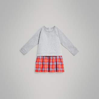 Burberry Check Cotton Sweatshirt Dress , Size: 8Y, Red