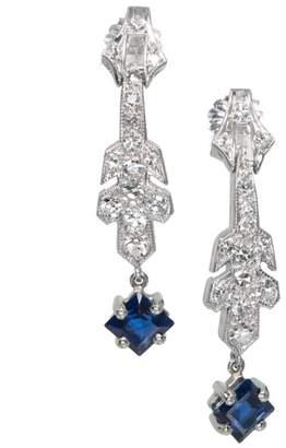Platinum Art Deco Sapphire Dangle Diamond Earrings