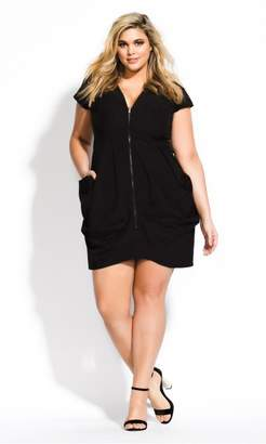 City Chic Citychic Pleated Zip Front Tunic