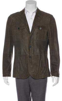 John Varvatos Suede Notch-Lapel Jacket
