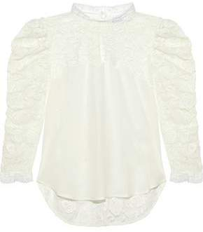 f2a28a75fa875e Sandro Maden Silk-paneled Embroidered Tulle Blouse