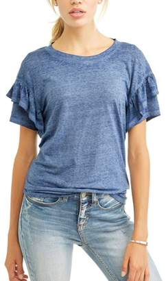 3233cc1f at Walmart.com · Como Blu Women's Short Sleeve Burnout Tiered T-Shirt