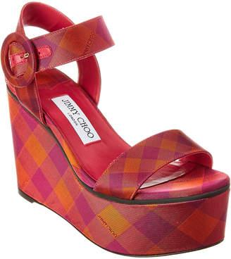 Jimmy Choo Abigail 100 Satin Wedge Sandal