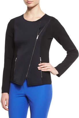 Armani Collezioni Asymmetric-Zip Long-Sleeve Jacket, Black